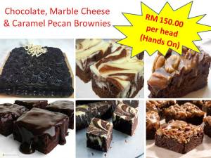 Chocolate, Marble Cheese & Caramel Pecan Brownies